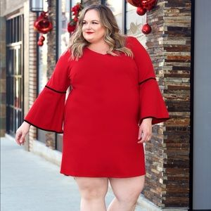 Sharagano Woman Dresses - Red Bell Sleeve Cocktail Dress